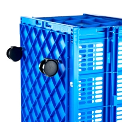 Blue Collapsible Crate with Casters