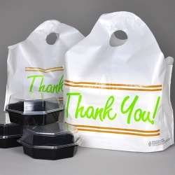 "Printed ""Thank You"" Take Out Bags with Wave Top Handles"