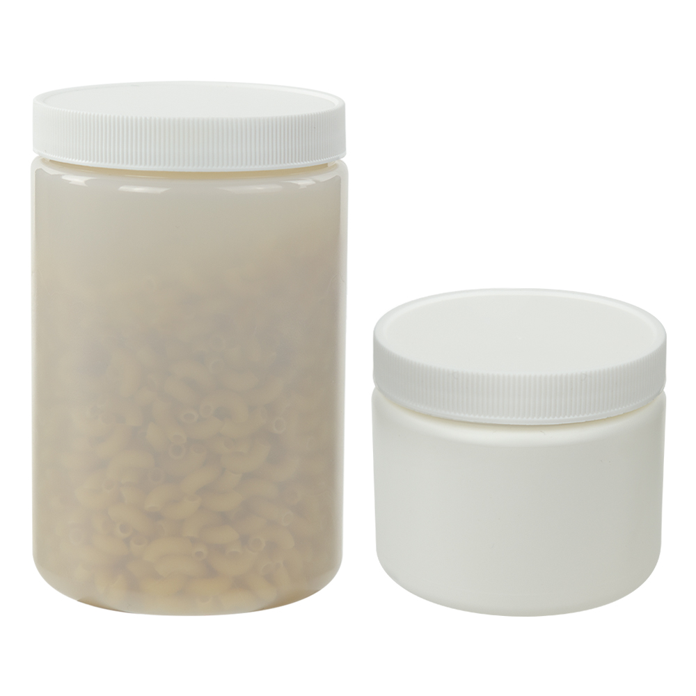 White or Natural Straight Sided Jars with Caps