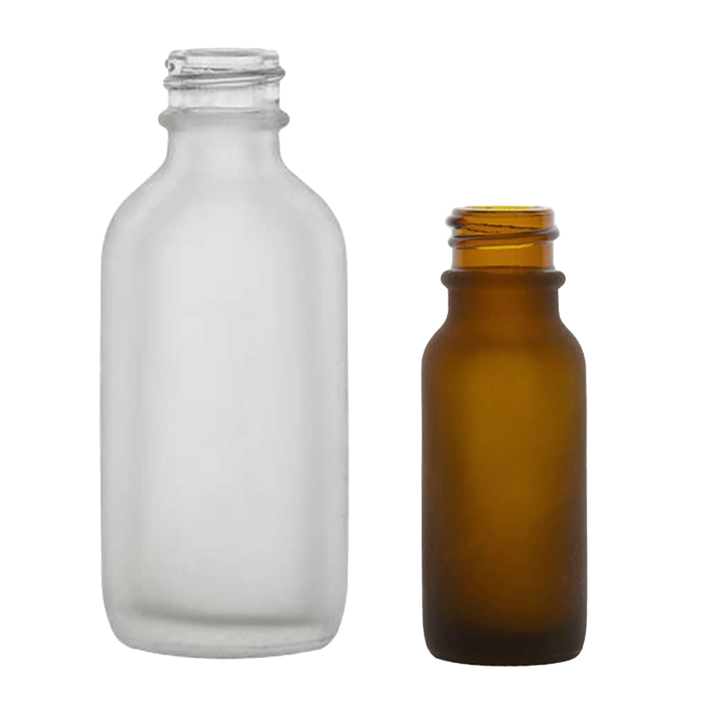Frosted Glass Boston Round Bottles