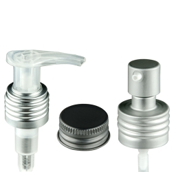 Brushed Aluminum Caps, Sprayers & Pumps