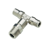 "1/4"" Tube x 1/4"" NPT Nickel-Plated Brass Male Branch Tee"