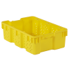 "24"" x 16"" Yellow Stack-N-Nest Ventilated Agricultural Containers"
