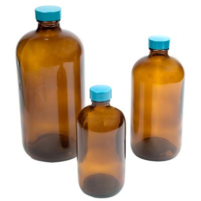 Safety Coated Amber Glass Boston Round Bottles with Caps
