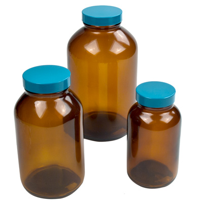 Safety Coated Amber Glass Wide Mouth Packer Bottles with Caps