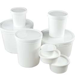 White Polypropylene & Polyethylene Containers & Lids
