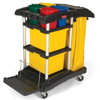Rubbermaid® Microfiber Janitor Cart with Color Coded Pails