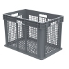 "24""L x 16""W x 16""H Akro-Mils® Straight Walled Gray Container w/Mesh Sides & Base"