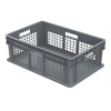 "24""L x 16""W x 8""H Akro-Mils® Straight Walled Gray Container w/Mesh Sides & Solid Base"
