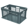 "24""L x 16W x 12""H Akro-Mils® Straight Walled Gray Container w/Mesh Sides & Solid Base"