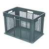 "24""L x 16""W x 16""H Akro-Mils® Straight Walled Gray Container w/Mesh Sides & Solid Base"