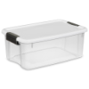 "Sterilite® 18 Quart Ultra™ Storage Box with White Lid & Titanium Latches - 18-1/8"" L x 12-1/4"" W x 7"" H"