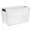"Sterilite® 70 Quart Ultra™ Storage Box with White Lid & Titanium Latches - 26-1/8"" L x 16-1/4"" W x 13-1/2"" H"