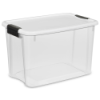 Sterilite® 30 Quart Ultra™ Storage Box with White Lid & Titanium Latches