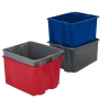 "24""L x 14""W x 8""H Dark Blue Polylewton® Stack-N-Nest Container"
